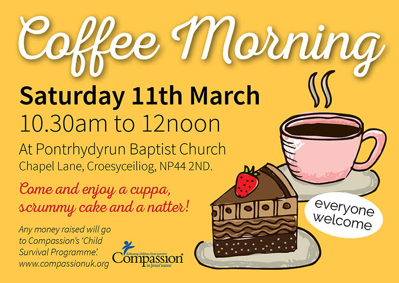 Coffee Morning: 11 March 10:30am-12noon